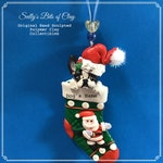 Boston Terrier black & white Christmas Santa Stocking Ornament READY TO SHIP Sally's Bits of Clay Personalized dog's name