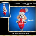 Cocker Spaniel Santa Choose your dog color Christmas Light Bulb Ornament OOAK Sally's Bits of Clay PERSONALIZED FREE with dog's name