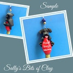 Black Labrador Retriever Dog Christmas Light Bulb Ornament Sally's Bits of Clay PERSONALIZED FREE with dog's name
