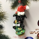 Black Pug Santa Christmas Tree Ornament READY to SHIP! Personalized Free with name by Sally's Bits of Clay