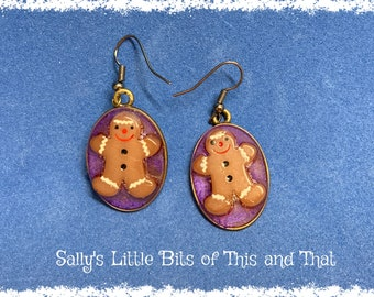 READY TO SHIP Gingerbread earrings Unique and Whimsical One of a Kind Hand Crafted Christmas Jewelry by Sally