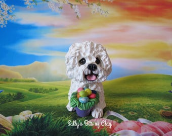 Bichon Frise dog with Easter Eggs READY to SHIP! One of a Kind original sculpture hand sculpted by Sally's Bits of Clay