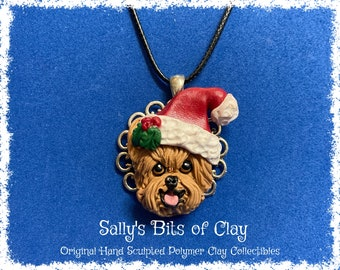 READY TO SHIP Yorkie Yorkshire Terrier Santa Christmas  Holidays dog Pendant Necklace Unique and One of a Kind Hand Crafted by Sally