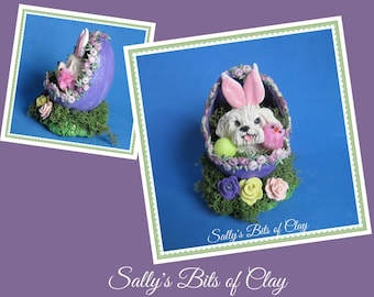 Maltese dog Easter Bunny in Egg READY to SHIP! One of a Kind sculpture by Sally's Bits of Clay