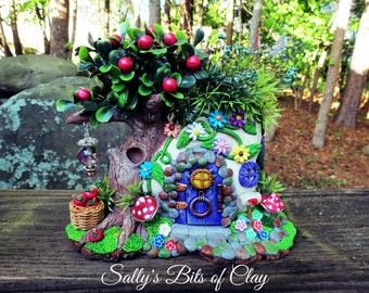 Fairy Rock House with Apple tree READY TO SHIP quaint and mystical hand sculpted original one of a kind sculpture by Sally's Bits of Clay