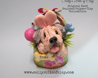 Soft-Coated Wheaten Terrier dog Easter Bunny in basket READY to SHIP Personalized with dog's name Hand Sculpted OOAK by Sally's Bits of Clay