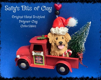 READY TO SHIP Golden Retriever Hand Sculpted Polymer Clay in Country Christmas Red Farm Truck Ornament Sally's Bits of Clay Personalized