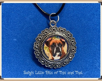 READY TO SHIP Boxer Necklace  One of a Kind Hand Crafted by Sally