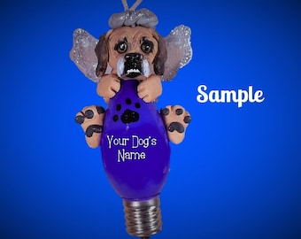 Puggle Pug/Beagle mix Angel Dog Christmas Holidays Light Bulb Ornament Sally's Bits of Clay PERSONALIZED FREE with dog's name