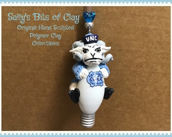 READY to SHIP University of North Carolina Ram Rameses NCAA Christmas light bulb Ornament Hand Sculpted One of a kind Sally's Bits of Clay