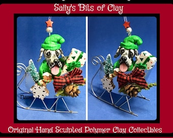 Blue Merle Great Dane Natural Ears Christmas Red Sleigh Ornament One of a Kind Sculpture by Sally's Bits of Clay