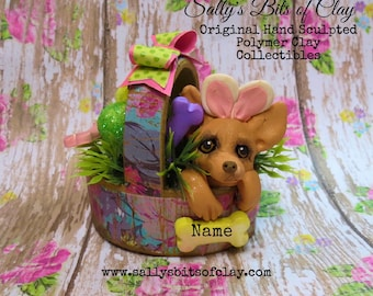 Fawn Chihuahua Easter Bunny in basket READY to SHIP! Personalized with dog's name Hand Sculpted OOAK by Sally's Bits of Clay