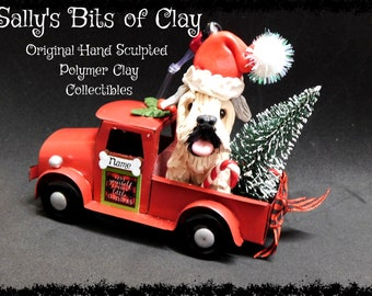 READY TO SHIP Hand Sculpted Polymer Soft-Coated Wheaten Terrier Country Christmas Red Farm Truck Ornament Sally's Bits of Clay Personalized