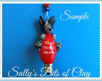 Blue Heeler Dog Christmas Light Bulb Ornament Sallys Bits of Clay PERSONALIZED FREE with your dog's name