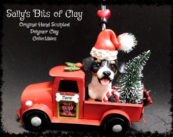 READY TO SHIP Hand Sculpted Polymer Clay Swiss Mountain dog Country Christmas Red Farm Truck Ornament Sally's Bits of Clay Personalized Free