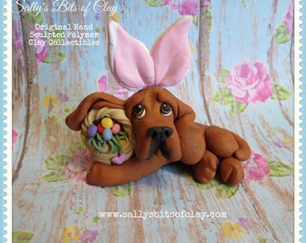 Red Bloodhound Easter Bunny with basket of eggs sculpture Hand Sculpted Original Polymer Clay Dog art by Sally's Bits of Clay