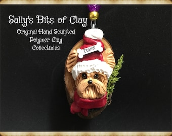 Yorkie Yorkshire Terrier Rustic Christmas Ornament Original Unique One of a Kind hand sculpted by Sally's Bits of Clay