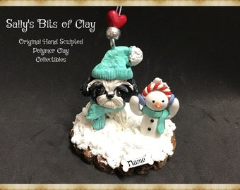 Black and White Shih Tzu Winter Snowman Christmas Ornament Original Unique One of a Kind hand sculpted by Sally's Bits of Clay