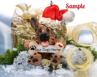 Tan with Black German Shepherd Santa Dog Christmas Holidays Bone Ornament Sally's Bits of Clay PERSONALIZED FREE with dog's name