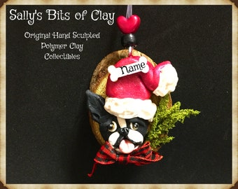 black and white Boston Bulldog Terrier Rustic Christmas Ornament Original Unique One of a Kind hand sculpted by Sally's Bits of Clay