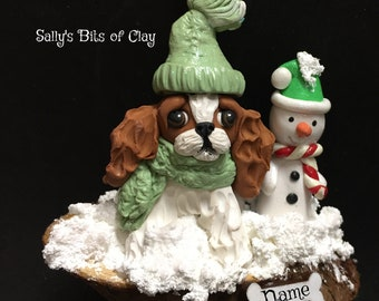 Blenheim Cavalier King Charles Spaniel Winter Snowman Christmas Ornament Original Unique One of a Kind hand sculpted by Sally's Bits of Clay