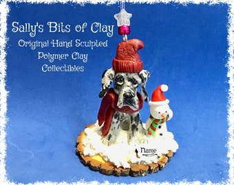 Blue Merle Great Dane Natural Ears Winter Snowman Christmas Ornament Original Unique One of a Kind hand sculpted by Sally's Bits of Clay