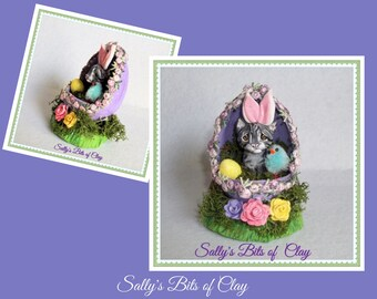 Grey Tabby Cat Easter Bunny in Egg READY to SHIP! One of a Kind sculpture by Sally's Bits of Clay