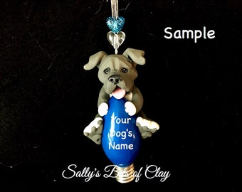 Blue Pit Bull Pitbull Terrier Santa Dog Natural Ears Christmas Light Bulb Ornament Sally's Bits of Clay PERSONALIZED FREE with dog's name