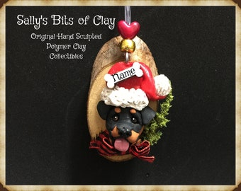 Rottweiler dog Rustic Christmas Ornament Original Unique One of a Kind hand sculpted by Sally's Bits of Clay