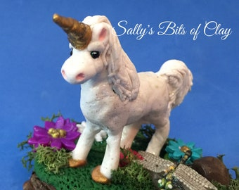 Miniature Fairy Garden Unicorn  whimsical unique READY TO SHIP hand sculpted original one of a kind sculpture by Sally's Bits of Clay