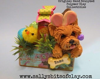 Yorkie Yorkshire Terrier dog Easter Bunny in basket READY to SHIP Personalized with dog's name Hand Sculpted OOAK by Sally's Bits of Clay