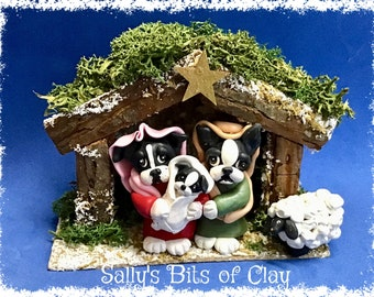 Black and White Boston Bulldog Terrier Christmas Nativity Manger Creche figure One of a Kind Sculpture by Sally's Bits of Clay