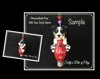 Australian Shepherd Dog CHOOSE color Christmas Light Bulb Ornament Sally's Bits of Clay PERSONALIZED FREE with name