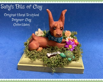 READY to SHIP Red Doberman Pinscher Dog Polymer Clay sculpture with cropped ears OOAK Clay art by Sallys Bits of Clay