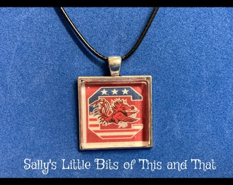 READY to sHIP Patriotic Americana Necklace University of South Carolina Gamecocks SC NCAA  Hand Crafted by Sally