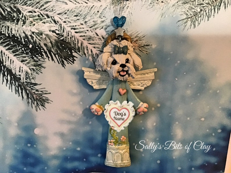 Maltese Angel Dog Blue bow in Topknot Christmas Ornament READY to SHIP PERSONALIZED with dog/'s name by Sally/'s Bits of Clay