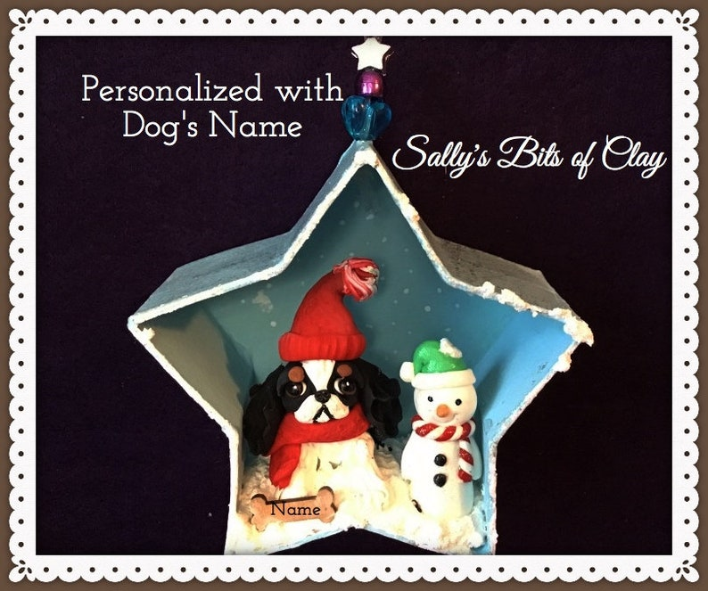 Cavalier King Charles Spaniel Tri Color Snowman Christmas Star Ornament READY TO SHIP by Sally/'s Bits of Clay Personalized with Dog/'s name