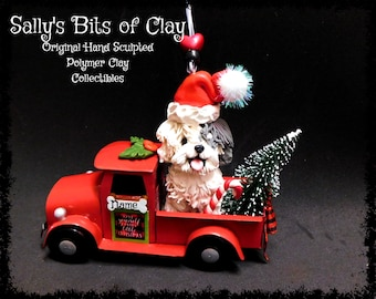 READY TO SHIP Hand Sculpted Clay Old English Sheepdog Country Christmas Red Farm Truck Ornament by Sally's Bits of Clay Personalized Free