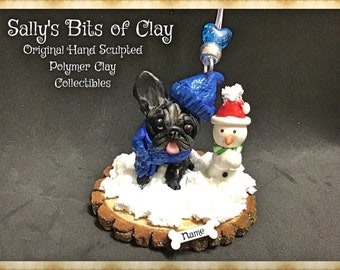 Black Brindle French Bulldog Winter Snowman Christmas Ornament Original Unique One of a Kind hand sculpted by Sally's Bits of Clay
