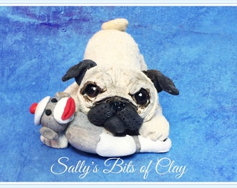 Fawn Pug dog with sock monkey READY to SHIP! One of a Kind original sculpture by Sally's Bits of Clay