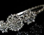 Vintage Styled Bridal Side Tiara made with Swarovski Crystal Rhinestones and Pearls