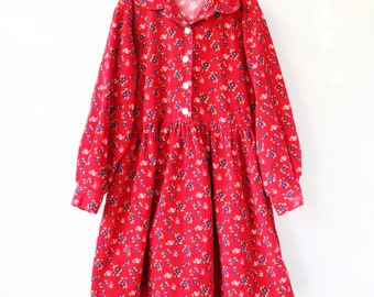 vtg vintage girls 8/9 old navy 90s cotton long sleeve dress grunge holiday button buttons flower floral flowers corduroy fall winter autumn