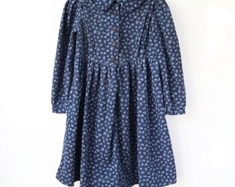 vtg vintage girls 7-8 years Laura Ashley mother & child cotton blue floral puff sleeve dress navy prairie flower flowers button buttons