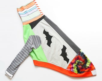 greyhound CATNEYDOGNEY by COURTNEYCOURTNEY pattern print upcycled jersey outfit top tall long patchwork halloween bats batty bat bold spooky