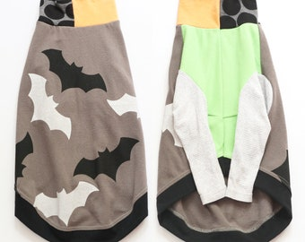 whippet CATNEYDOGNEY upcycled jersey outfit top COURTNEYCOURTNEY long sleeve handprinted bat bats batty halloween spooky boo trick or treat