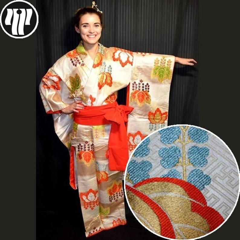 Japanese Wedding Kimono.Wedding Kimono Vintage Japanese Kakeshita Bridal Dress Silk Robe Paulownia