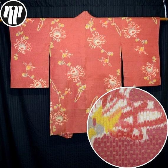 Retro Ikat Floral Vintage Japanese Woman/'s Silk Haori Kimono Jacket