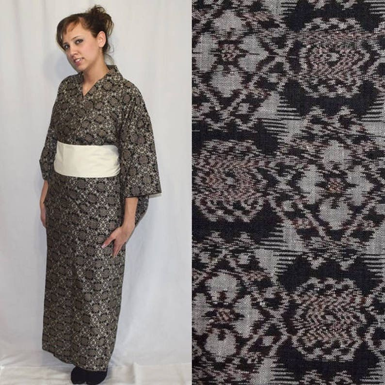 Vintage Japanese Kimono Woman/'s Kimono Oshima Tsumugi Mud Dye Oshima Darling