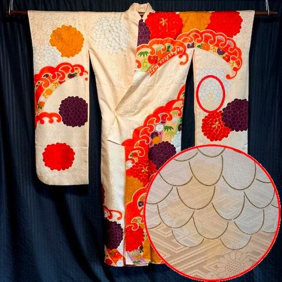 Silk Furisode Kimono Vintage Japanese Woman/'s Formal Kimono Robe Curling Waves