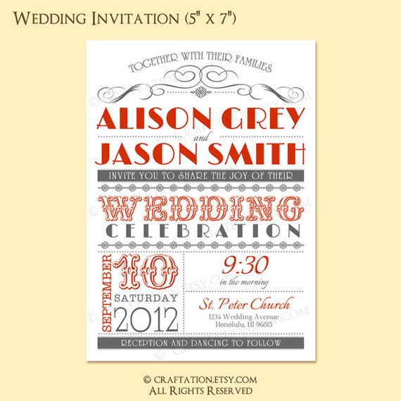Wedding Invitations Old Fashioned: Items Similar To Custom Modern Retro Vintage Wedding